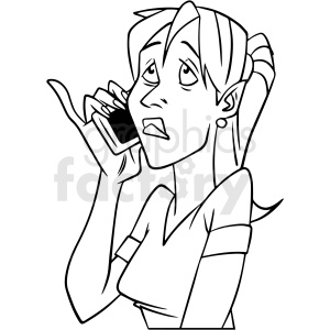 black and white woman talking on phone vector clipart
