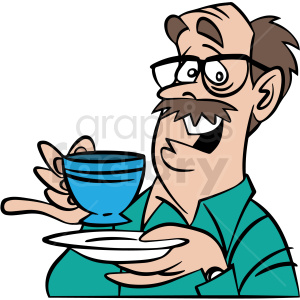 cartoon man having tea vector clipart clipart. Commercial use image # 413108