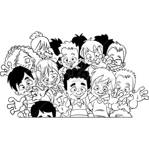 black and white cartoon crowd of children vector clipart