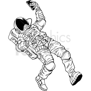 black and white astronaut taking selfie vector clipart clipart. Royalty-free image # 413168