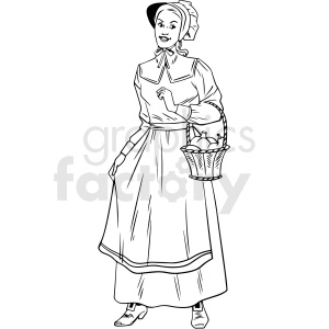 black and white realistic female pilgrim holding basket vector clipart clipart. Royalty-free image # 413169