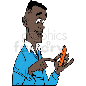 african american guy using his phone vector clipart clipart. Commercial use image # 413178
