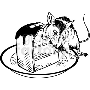 black and white realistic rat eating cake vector clipart clipart. Royalty-free image # 413209