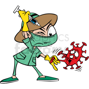 nurse trying to vacinate covid 19 virus cartoon vector clipart