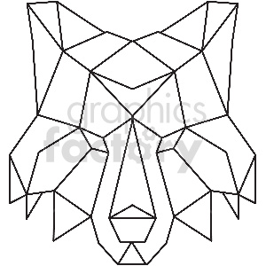 black and white fox head geometic shape vector clipart clipart. Royalty-free image # 413372