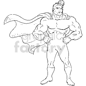 black and white superhero vector clipart