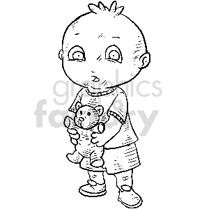 black and white boy holding teddy bear vector clipart
