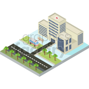isometric city block with hospital vector clipart