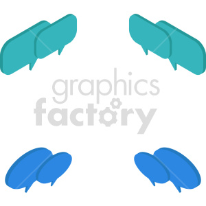 isometric chat boxes vector icon clipart 1