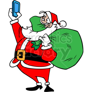 Santa wearing green mask taking selfie vector clipart