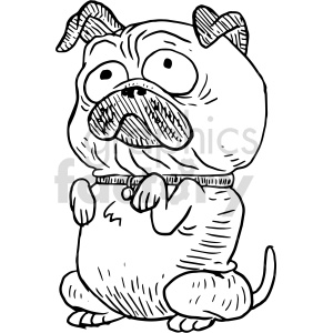 pug cartoon black and white clipart clipart. Commercial use image # 414759