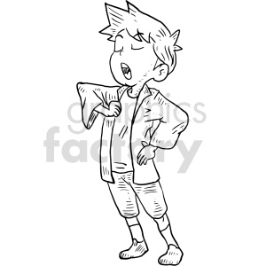 boy singing black and white clipart clipart. Commercial use image # 414786