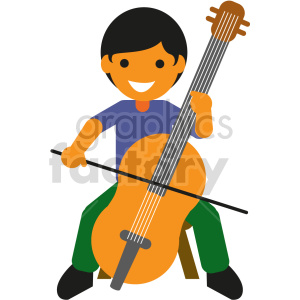 cartoon kid playing chelo vector clipart clipart. Commercial use image # 414865