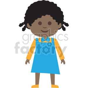 african american girl standing vector clipart clipart. Commercial use image # 414867