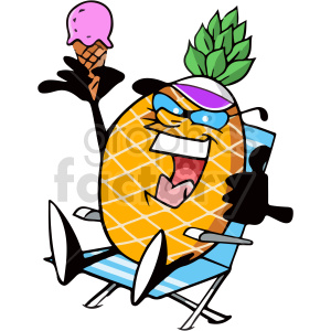 cartoon pineapple sitting in lounge chair clipart clipart. Commercial use image # 414955