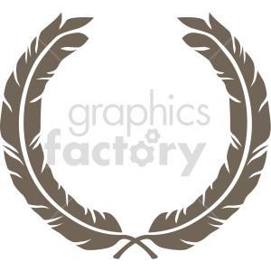 double feather laurel wreath design vector clipart clipart. Commercial use image # 415010