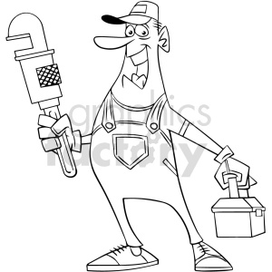 clipart - cartoon plumber black white vector clipart.