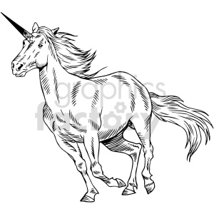unicorn black and white clipart clipart. Commercial use image # 415057