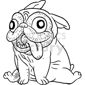silly pug puppy clip art clipart. Commercial use image # 415132