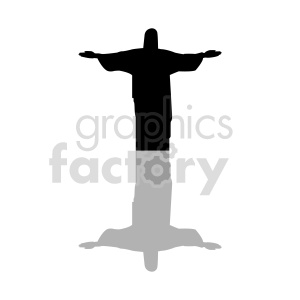clipart - jesus silhouette with drop shadow vector clipart.