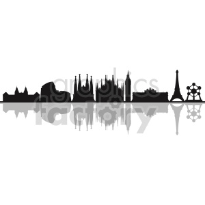 Europe building skyline vector outline clipart. Commercial use image # 415624