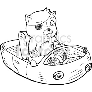 black and white cat pilot clipart clipart. Commercial use image # 416115