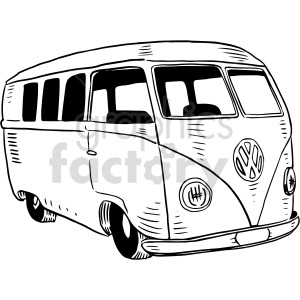 black and white vw bus graphic clipart. Commercial use image # 416118