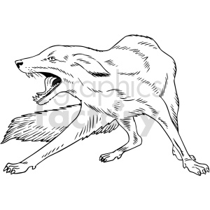 black and white fox vector clipart clipart. Commercial use image # 416153