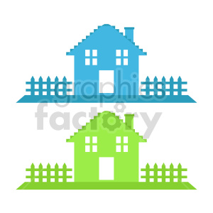 neighborhood house with picket fence vector clipart clipart. Commercial use image # 416486