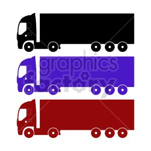 clipart - 18 wheeler truck vector clipart set.