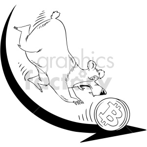 black and white cartoon bear chasing bitcoin clipart. Commercial use image # 416683