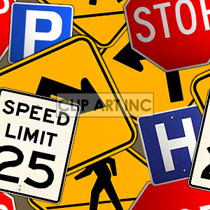 Street sign tiled background clipart. Commercial use image # 128158