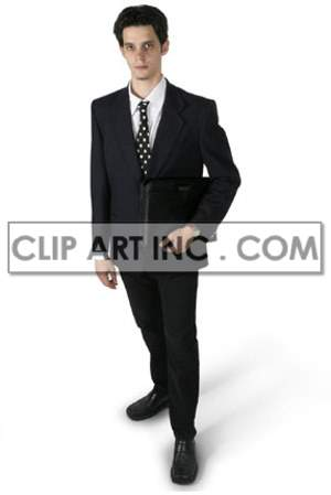 A Business Man Holding a Notebook Dressed for Work clipart. Commercial use image # 177463