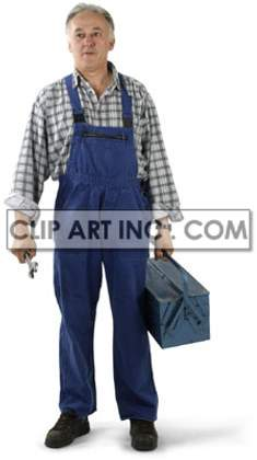 mechanic man male workman worker uniform toolbox wrench handyman   3d1005lowres photos people