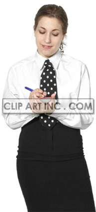 A Woman in a Waitress Uniform Taking an Order clipart. Royalty-free image # 177488