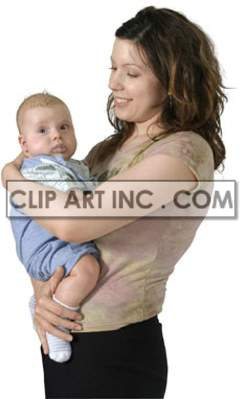 A Woman Happily Holding a Small Baby Boy clipart. Royalty-free image # 177503