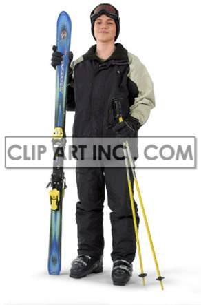 teenage boy getting ready to go skiing