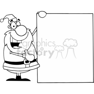 black and white Santa holding a sign clipart. Royalty-free image # 377807