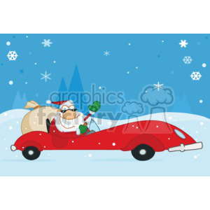 santa driving a red sports car on christmas night