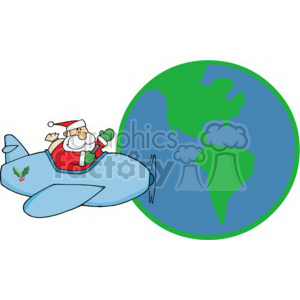 Santa Flying Around The World Delivering Present To All The Little Childern clipart. Royalty-free image # 377818