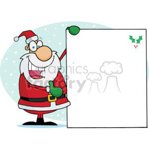 Santa Holding a Blank Sing with Holly in the Corner clipart. Royalty-free image # 377822