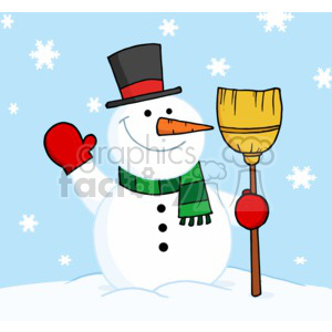 snowman in wearing a top hat scraf and mittens holding a broom  clipart. Royalty-free image # 377824