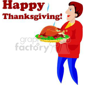 A Person Carrying a Large Thanksgiving Turkey Hot  clipart. Commercial use image # 145394