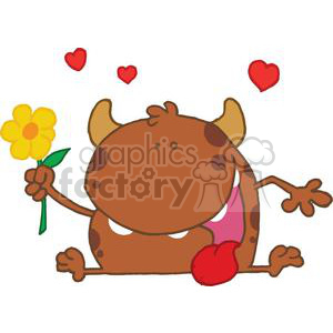 Monster with a yellow flower clipart. Commercial use image # 377980