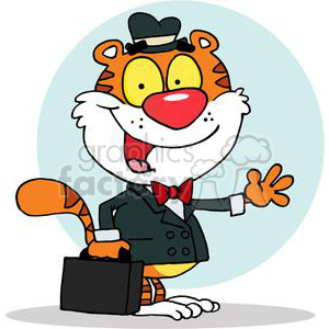 A Smiling Tiger With Briefcase Waving A Greeting clipart. Royalty-free image # 377985