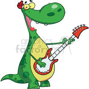 Guitar Playing Green spotted Dinosaur clipart. Royalty-free image # 377990