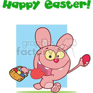 Easter Rabbit Running And Holding Up An Egg And Carrying A Basket clipart. Royalty-free image # 378020