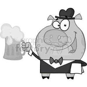 Waiter Pig with Beer in Grayscale clipart. Royalty-free image # 378045