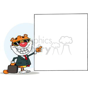 Happy Tiger Presenting A Blank Sign While Carrying A Briefcase clipart. Commercial use image # 378065