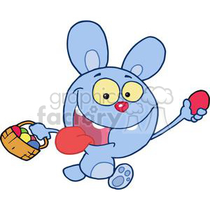 Blue easter bunny running with a basket of eggs clipart. Royalty-free image # 378075